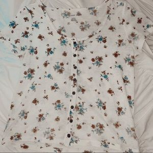 american eagle flower button-up top